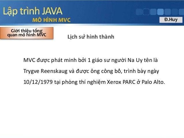 Lịch sử hình thành MÔ HÌNH MVC Giới thiệu tổng quan mô hình MVC MVC được phát minh bởi 1 giáo sư người Na Uy ...