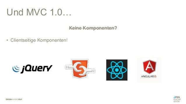 "MVC 1.0 • Serverseitiges Rendering • ""Rich internet applications"" • Rolle von JavaScript: DOM-Manipulation"