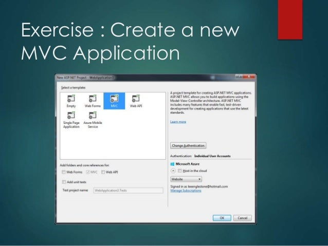 Exercise : Create a new MVC Application; 8.