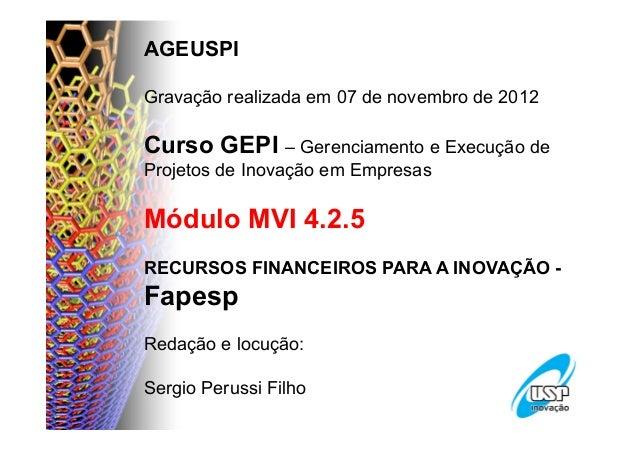 AGEUSPIGravação realizada em 07 de novembro de 2012Curso GEPI – Gerenciamento e Execução deProjetos de Inovação em Empresa...