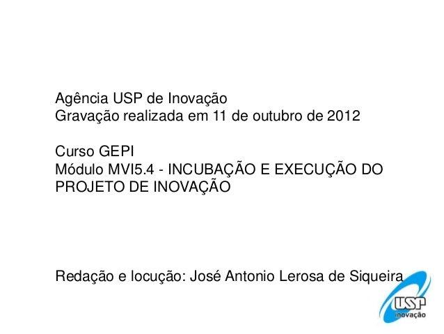 Agência USP de InovaçãoGravação realizada em 11 de outubro de 2012Curso GEPIMódulo MVI5.4 - INCUBAÇÃO E EXECUÇÃO DOPROJETO...