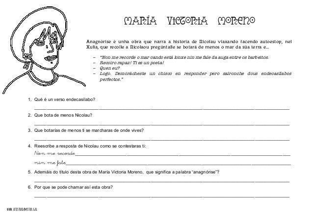 MARÍA VICTORIA MORENO Anagnórise é unha obra que narra a historia de Nicolau viaxando facendo autoestop, nel Xulia, que re...