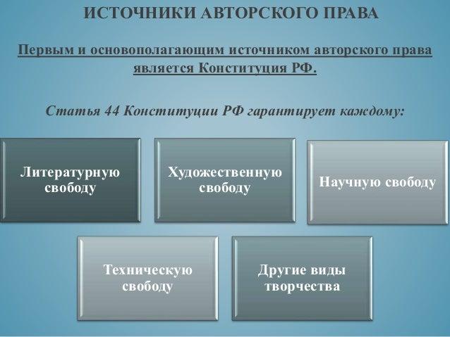 дипломная презентация по законодательству рф в сфере авторского права ИСТОЧНИКИ АВТОРСКОГО ПРАВА