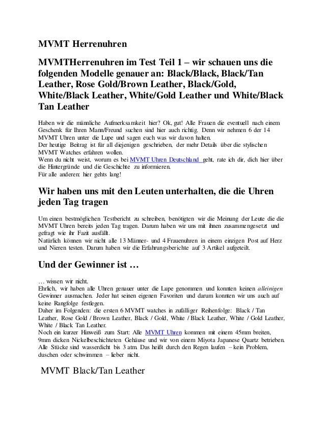 MVMT Herrenuhren MVMTHerrenuhren im Test Teil 1 – wir schauen uns die folgenden Modelle genauer an: Black/Black, Black/Tan...