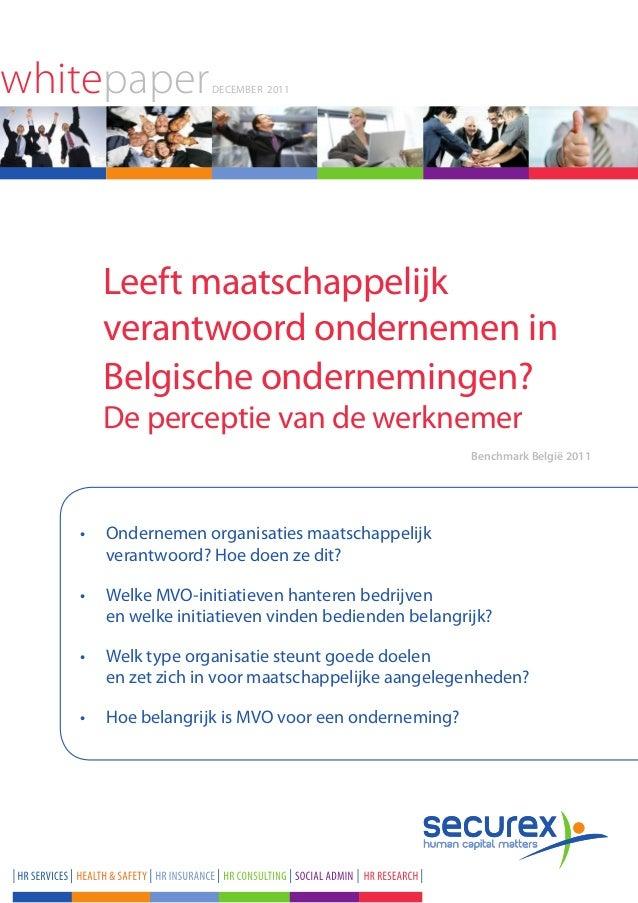 whitepaper         December 2011     Leeft maatschappelijk     verantwoord ondernemen in     Belgische ondernemingen?     ...