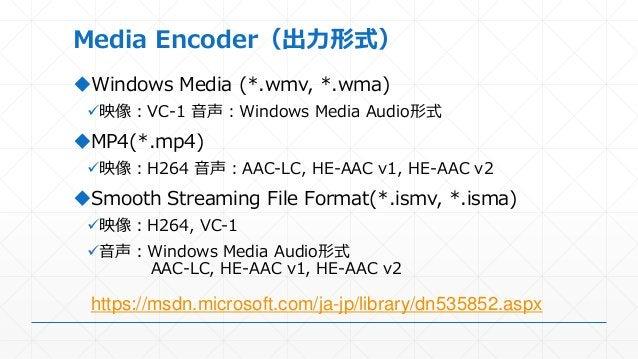 Media Encoder(出力形式) Windows Media (*.wmv, *.wma) 映像:VC-1 音声:Windows Media Audio形式 MP4(*.mp4) 映像:H264 音声:AAC-LC, HE-AAC...