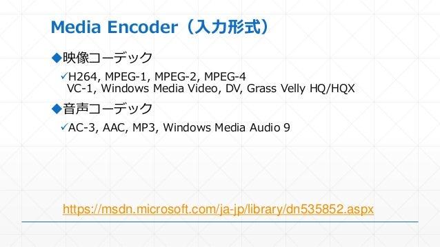 Media Encoder(入力形式) 映像コーデック H264, MPEG-1, MPEG-2, MPEG-4 VC-1, Windows Media Video, DV, Grass Velly HQ/HQX 音声コーデック AC-...