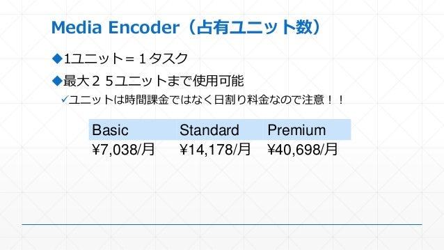 Media Encoder(占有ユニット数) 1ユニット=1タスク 最大25ユニットまで使用可能 ユニットは時間課金ではなく日割り料金なので注意!! Basic Standard Premium ¥7,038/月 ¥14,178/月 ¥4...