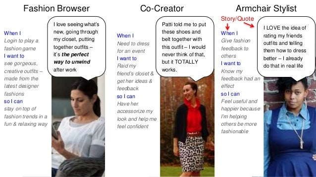 Fashion Browser Co-Creator Armchair Stylist  When I  Give fashion  feedback to  others  I want to  Know my  feedback had a...