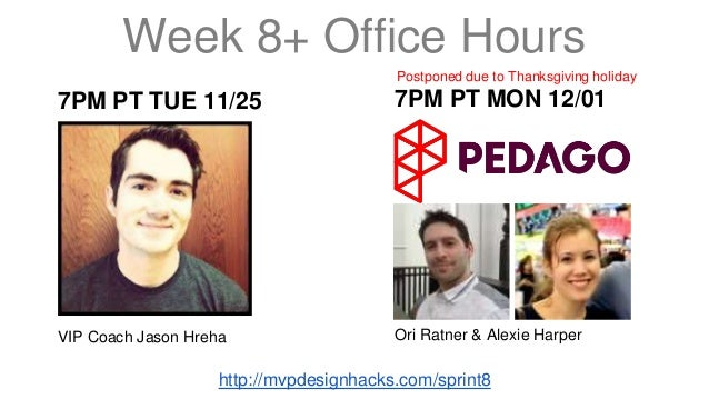 Week 8+ Office Hours  7PM PT TUE 11/25  VIP Coach Jason Hreha  Postponed due to Thanksgiving holiday  7PM PT MON 12/01  Or...