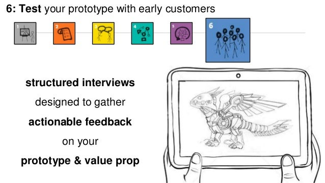 6: Test your prototype with early customers  structured interviews  designed to gather  actionable feedback  on your  prot...