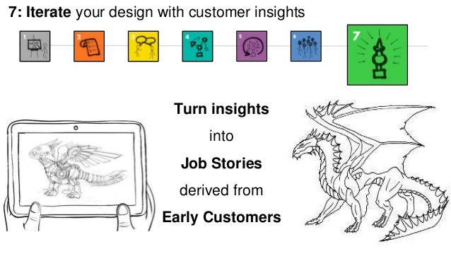 7: Iterate your design with customer insights  Turn insights  into  Job Stories  derived from  Early Customers