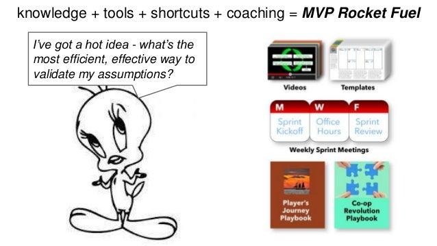 knowledge + tools + shortcuts + coaching = MVP Rocket Fuel  I've got a hot idea - what's the  most efficient, effective wa...