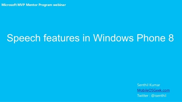 Microsoft MVP Mentor Program webinar  MobileOSGeek.com