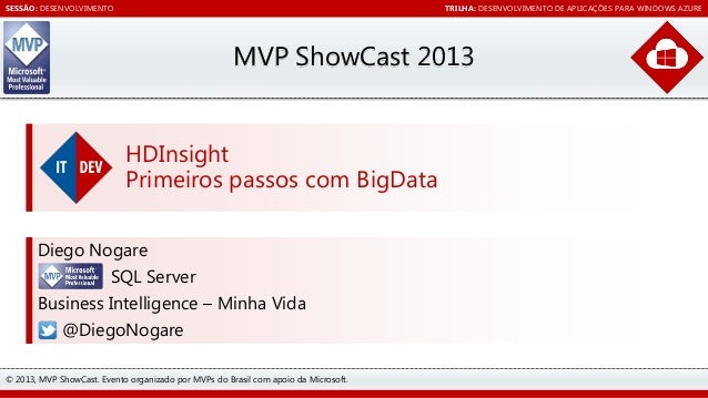 SESSÃO: DESENVOLVIMENTO  TRILHA: DESENVOLVIMENTO DE APLICAÇÕES PARA WINDOWS AZURE  MVP ShowCast 2013 HDInsight Primeiros p...