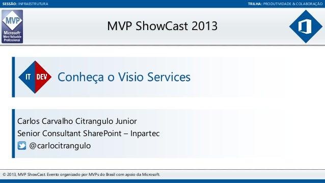 SESSÃO: INFRAESTRUTURA  TRILHA: PRODUTIVIDADE & COLABORAÇÃO  MVP ShowCast 2013  Conheça o Visio Services  Carlos Carvalho ...