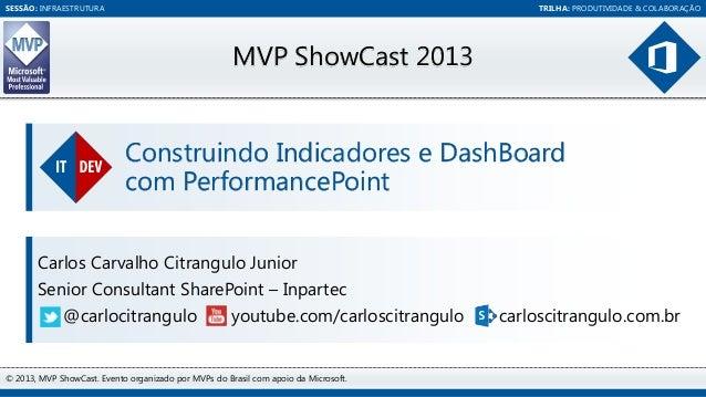 SESSÃO: INFRAESTRUTURA  TRILHA: PRODUTIVIDADE & COLABORAÇÃO  MVP ShowCast 2013  Construindo Indicadores e DashBoard com Pe...