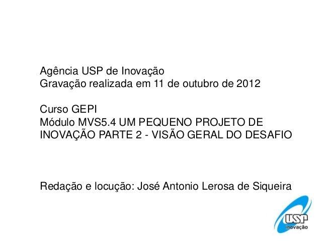 Agência USP de InovaçãoGravação realizada em 11 de outubro de 2012Curso GEPIMódulo MVS5.4 UM PEQUENO PROJETO DEINOVAÇÃO PA...