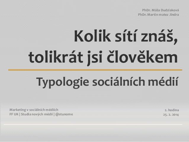 PhDr. Máša Dudziaková PhDr. Martin matez Jindra  Kolik sítí znáš, tolikrát jsi člověkem Typologie sociálních médií Marketi...
