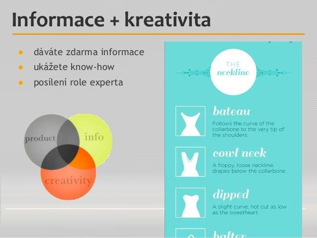 ● dáváte zdarma informace ● ukážete know-how ● posílení role experta Informace + kreativita
