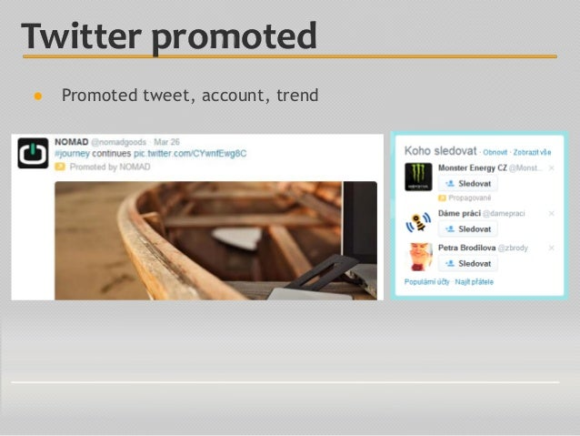 ● Promoted tweet, account, trend Twitter promoted