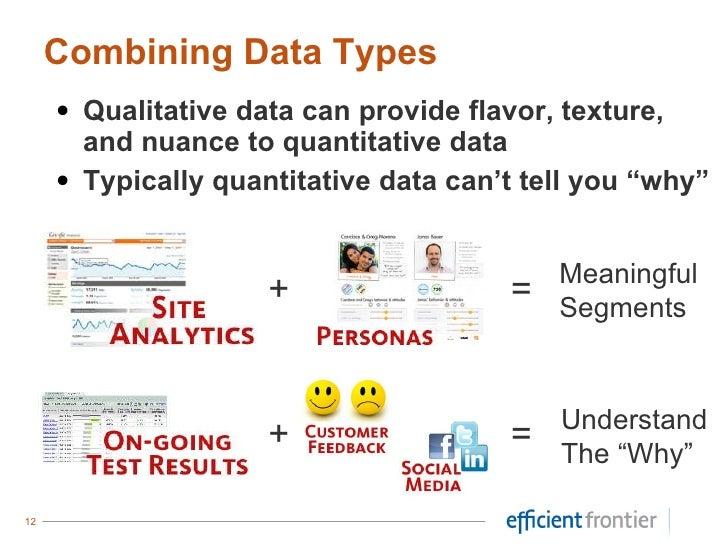 <ul><li>Qualitative data can provide flavor, texture, and nuance to quantitative data </li></ul><ul><li>Typically quantita...