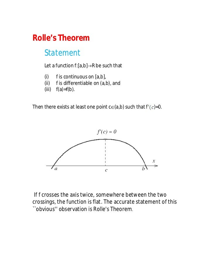 Rolle's Theorem     Statement     Let a function f:[a,b]R be such that     (i) f is continuous on [a,b],     (ii) f is di...