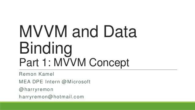 MVVM and Data Binding Part 1: MVVM Concept Remon Kamel MEA DPE Intern @Microsoft @harryremon harryremon@hotmail.com