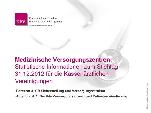 ©KassenärztlicheBundesvereinigung Medizinische Versorgungszentren: Statistische Informationen zum Stichtag 31.12.2012 für ...