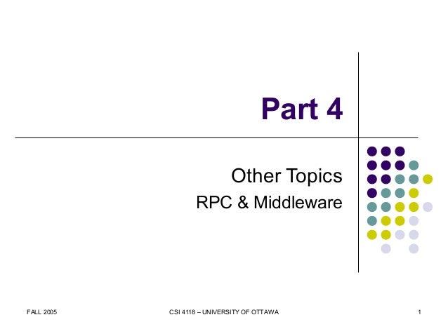 FALL 2005 CSI 4118 – UNIVERSITY OF OTTAWA 1 Part 4 Other Topics RPC & Middleware