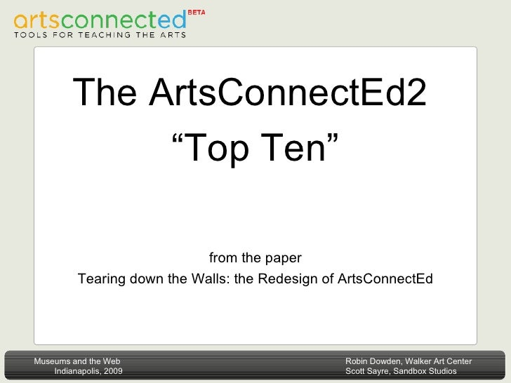 """The ArtsConnectEd2  """"Top Ten"""" from the paper Tearing down the Walls: the Redesign of ArtsConnectEd"""