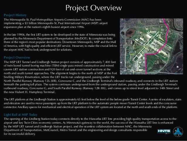 Project Overview Project History Project Overview Light Rail at MSP Today The Minneapolis-St. Paul Metropolitan Airports C...