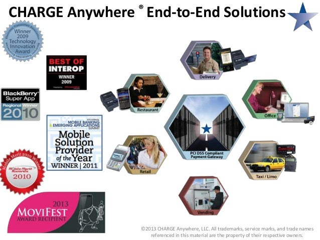 CHARGE Anywhere ® End-to-End Solutions  ©2013 CHARGE Anywhere, LLC. All trademarks, service marks, and trade names referen...