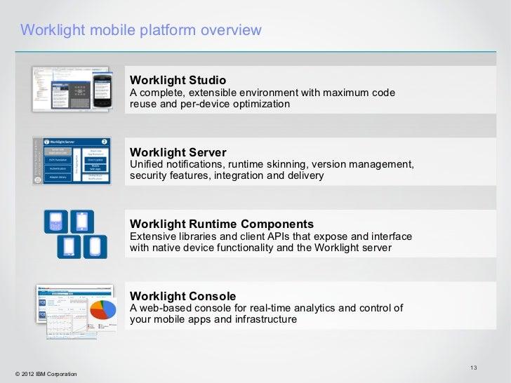 Worklight mobile platform overview                         Worklight Studio                         A complete, extensible...