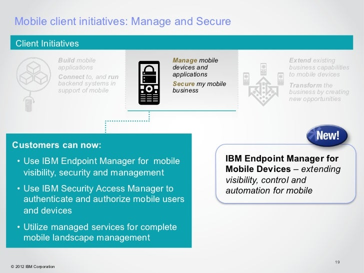 Mobile client initiatives: Manage and Secure  Client Initiatives                         Build mobile          Manage mobi...