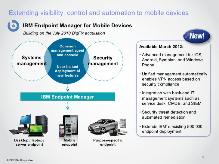 Extending visibility, control and automation to mobile devices             IBM Endpoint Manager for Mobile Devices        ...
