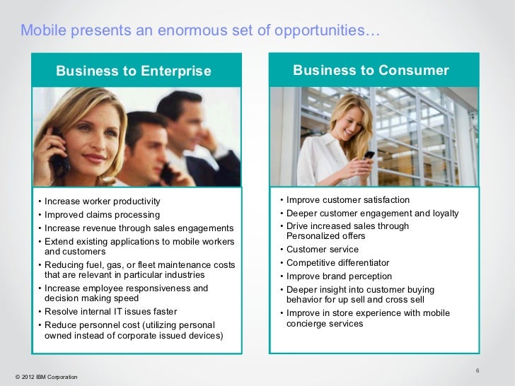Mobile presents an enormous set of opportunities…              Business to Enterprise                          Business to...
