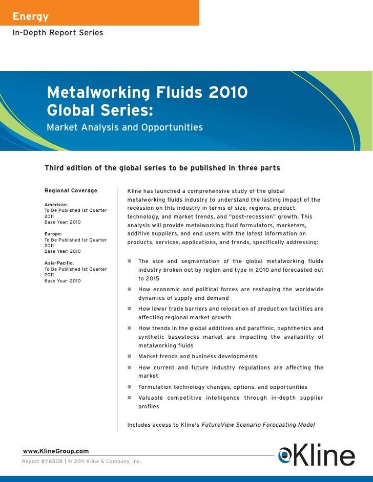 EnergyIn-Depth Report Series           Metalworking Fluids 2010           Global Series:           Market Analysis and Opp...