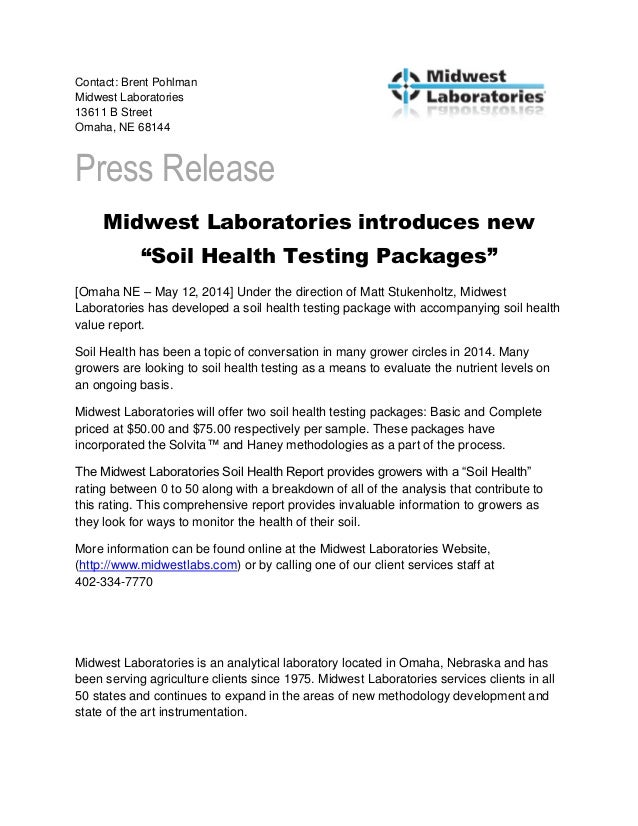 Contact: Brent Pohlman Midwest Laboratories 13611 B Street Omaha, NE 68144 Press Release Midwest Laboratories introduces n...