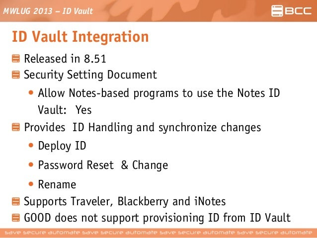 ID Vault - Implementation, Security and Troubleshooting