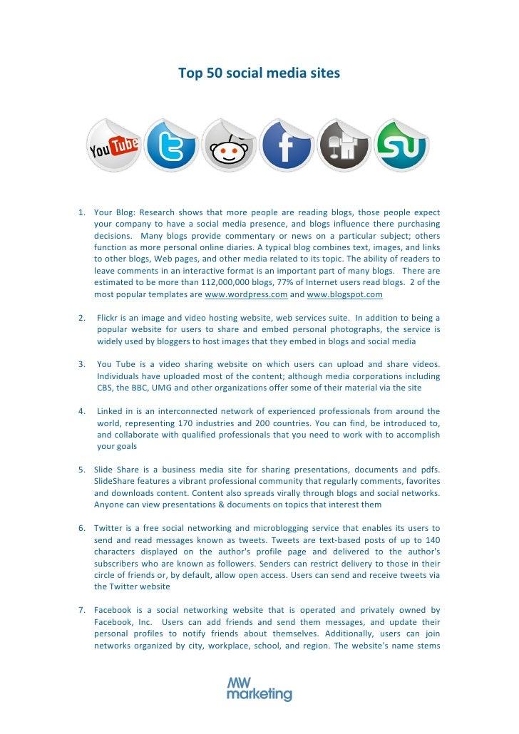Top  50  social  media  sites                                                                                 ...