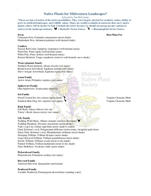 `                          Native Plants for Midwestern Landscapes*                                             Selected b...