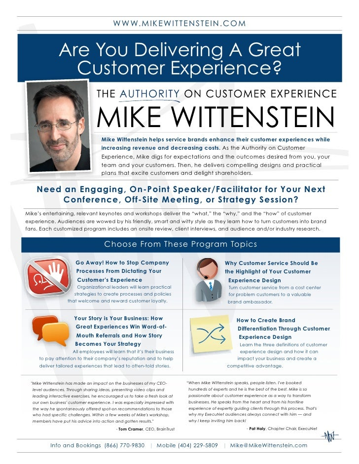 W W W. M IKEW ITTENSTEIN.COM                  Are You Delivering A Great                  Customer Experience?            ...