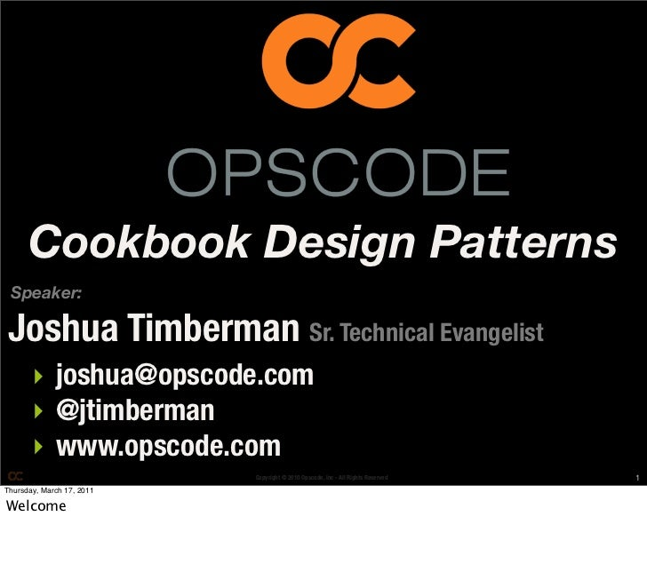 Mwrc2011 cookbook design patterns