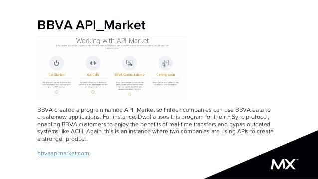 BBVA API_Market BBVA created a program named API_Market so fintech companies can use BBVA data to create new applications. ...
