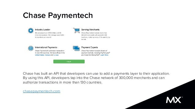 Chase Paymentech Chase has built an API that developers can use to add a payments layer to their application. By using thi...