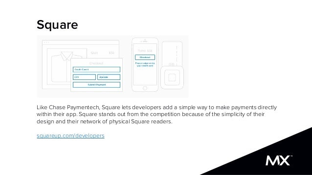 Square Like Chase Paymentech, Square lets developers add a simple way to make payments directly within their app. Square s...