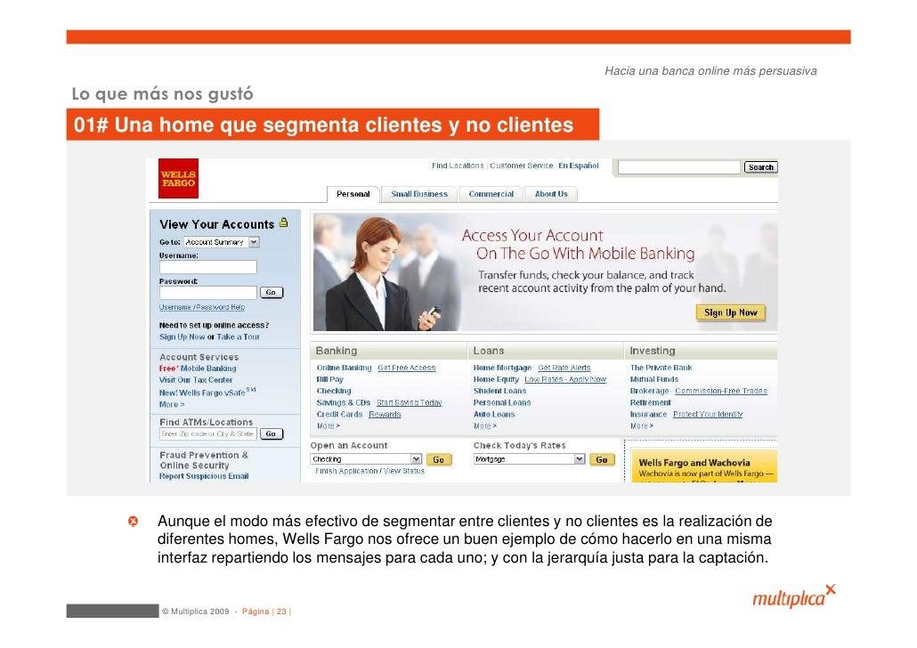 Hacia una banca online más persuasiva  Lo que más nos gustó 01# Una home que segmenta clientes y no clientes              ...