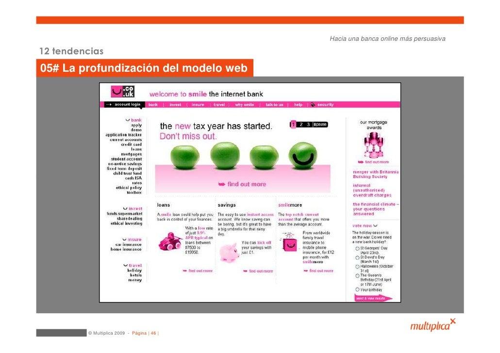 Hacia una banca online más persuasiva  12 tendencias 05# La profundización del modelo web              © Multiplica 2009 -...