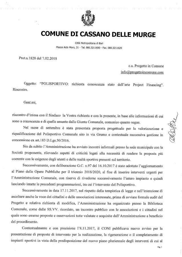 """La lettera della Presidente del Consiglio Comunale a """"Progetto in Comune"""""""
